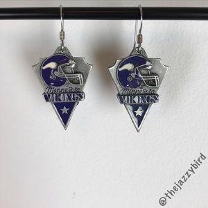 NFL MN Vikings Triangle Metal Dangly Earings